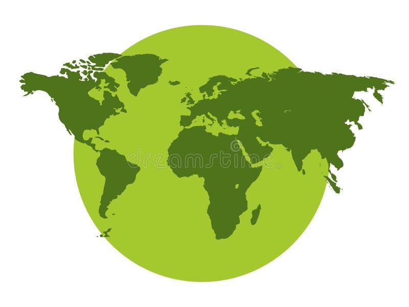 Los continentes del planeta, protección del medio ambiente, planeta verde en un fondo blanco libre illustration