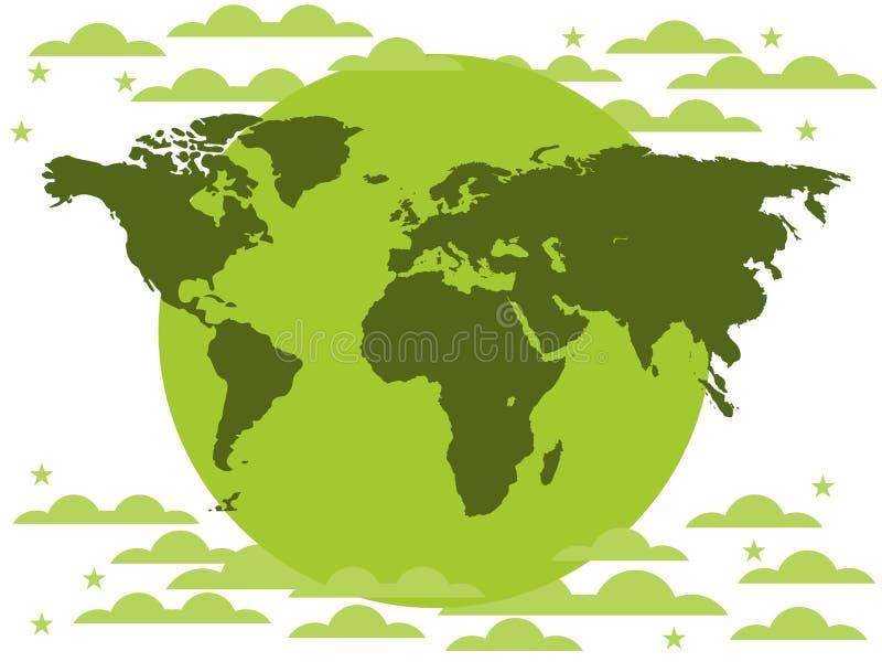 Los continentes del planeta, protección del medio ambiente, planeta verde en un fondo blanco Nubes stock de ilustración