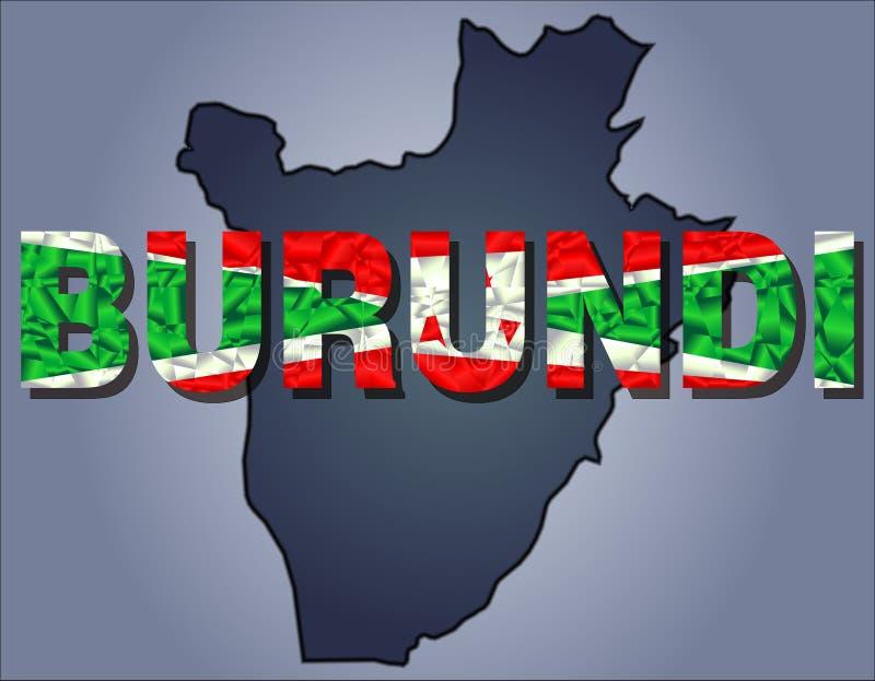 Los contornos del territorio de la palabra de Burundi y de Burundi en colores de la bandera nacional libre illustration