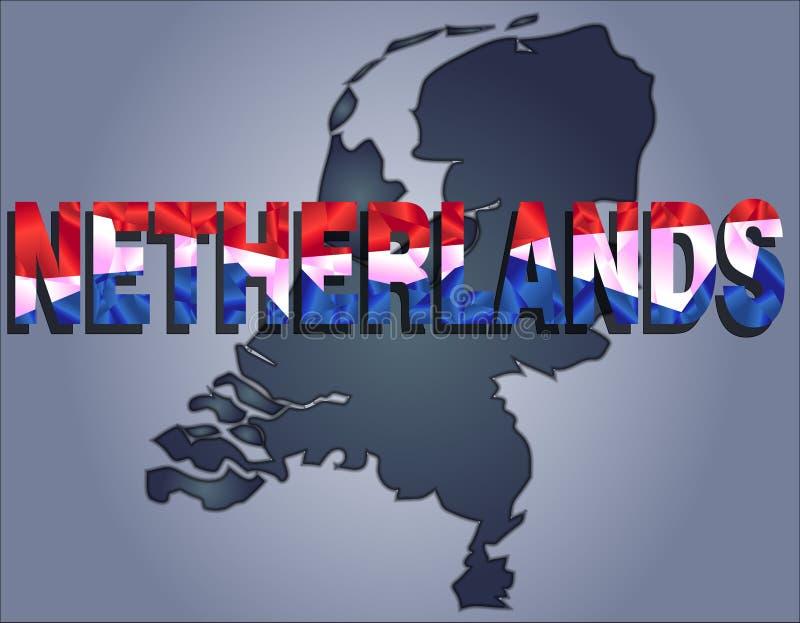 Los contornos del territorio de Países Bajos y de la palabra holandesa en los colores de la bandera nacional stock de ilustración
