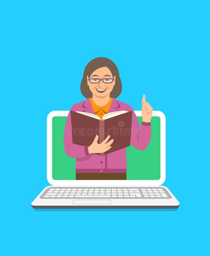 Los controles de la mujer del profesor abren el libro para compartir conocimiento stock de ilustración