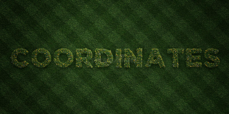 Los COORDENADAS - letras frescas de la hierba con las flores y los dientes de león - 3D rindieron imagen común libre de los derec libre illustration