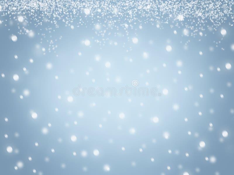 Los copos de nieve abstractos borrosos azul de la nieve del cielo del invierno de la Navidad texturizan el fondo ilustración del vector