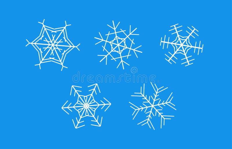 Los copos de nieve blancos en fondo azul - fije de iconos del vector stock de ilustración