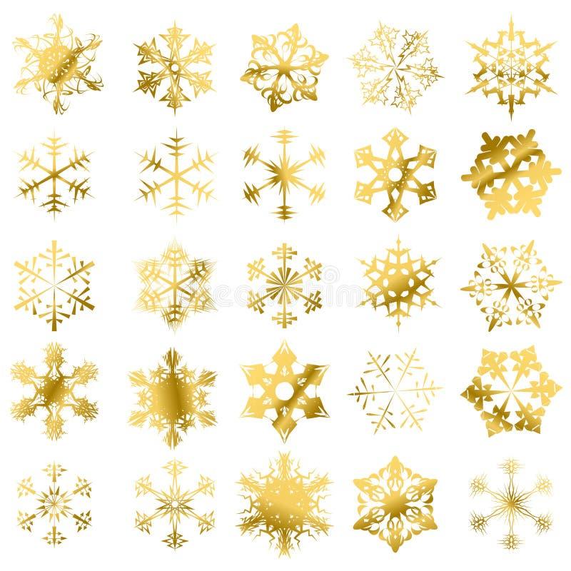 Download Los Copos De Nieve De Oro Aislaron Ilustración del Vector - Ilustración de holiday, helada: 7288920