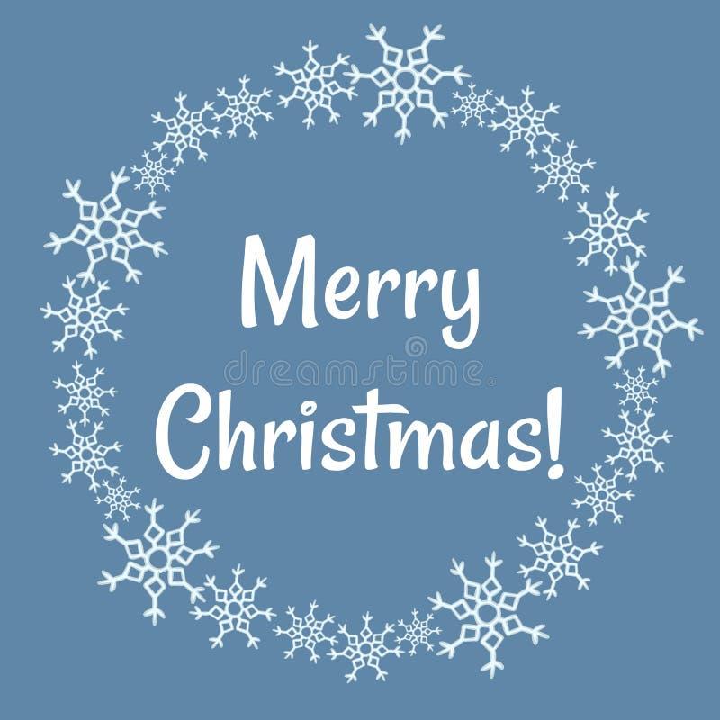 Los copos de nieve del invierno de la Feliz Navidad enrruellan El vector garabatea la postal ilustración del vector