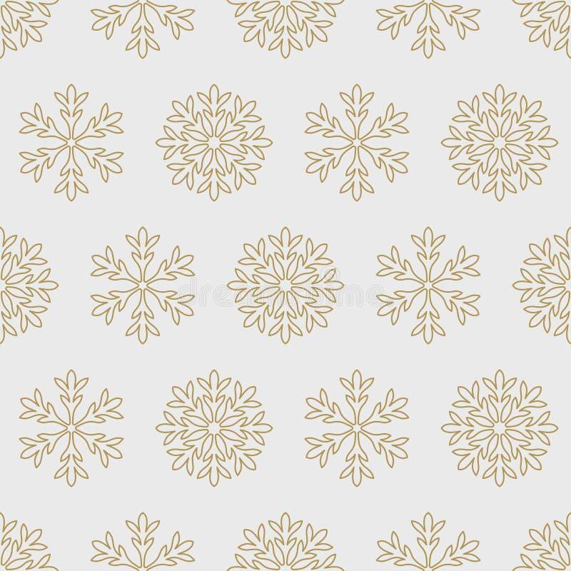 Los copos de nieve del oro en un fondo gris modelan inconsútil libre illustration