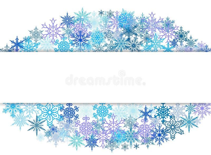 Los copos de nieve diseñan para el invierno con el ejemplo del vector de espacio del texto del lugar La nieve abstracta del arte  libre illustration