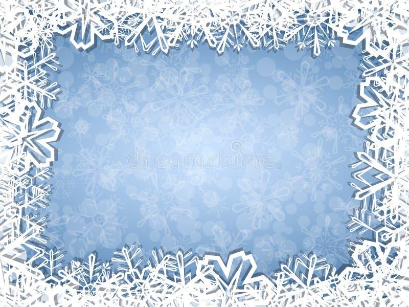 Los copos de nieve enmarcan en fondo escarchado libre illustration