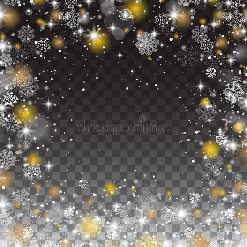 Los copos de nieve enmarcan, las luces de las nevadas en fondo transparente libre illustration