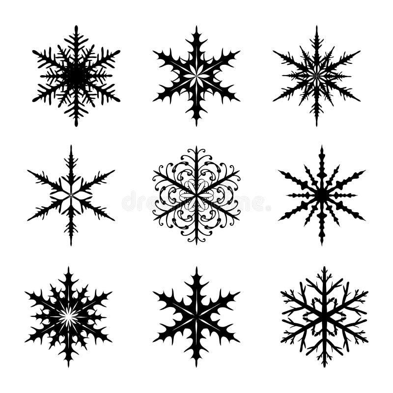 Los copos de nieve fijaron aislado en el vector blanco del fondo stock de ilustración