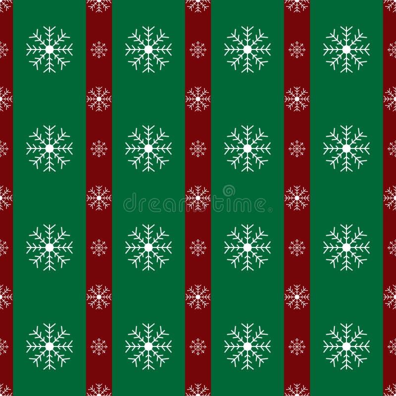 Los copos de nieve florales ponen verde el modelo del fondo de la Navidad de las rayas del rojo libre illustration