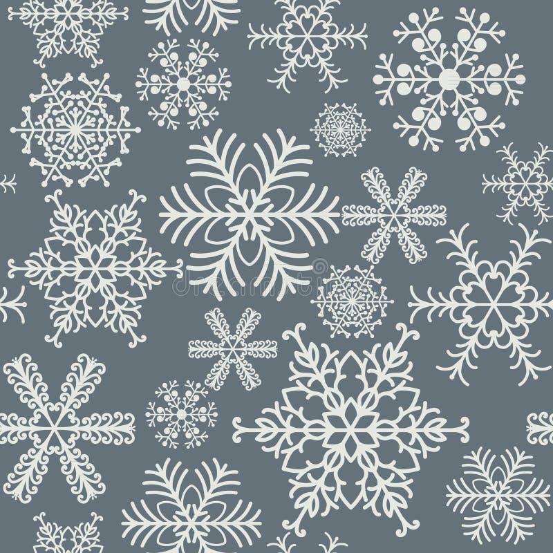 Los copos de nieve inconsútiles modelan diseño gris y blanco del fondo ilustración del vector