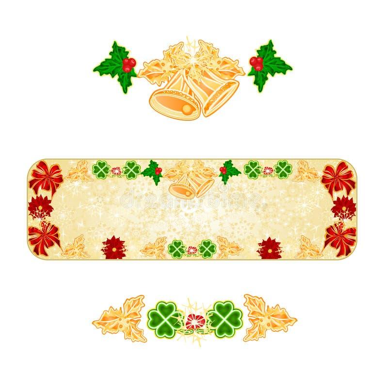 Los copos de nieve de la decoración de la Navidad de la bandera con las campanas y el vintage de la poinsetia y de la hoja de tré stock de ilustración