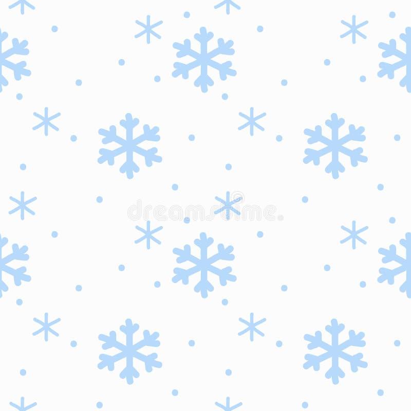 Los copos de nieve de la muestra del dibujo de la mano azules en modelo inconsútil del fondo blanco aislaron Fondo del invierno stock de ilustración