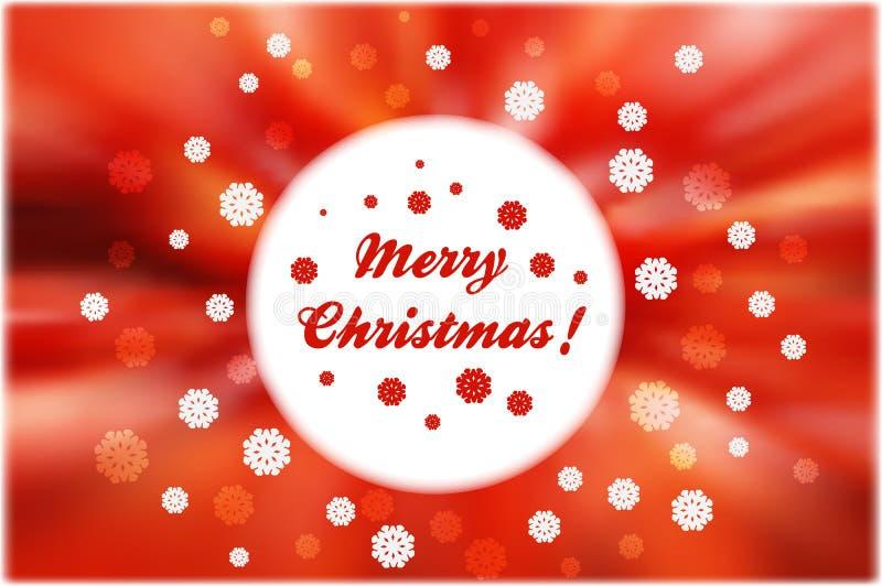 Los copos de nieve de la Navidad alrededor del marco blanco redondo en extracto rojo sean stock de ilustración