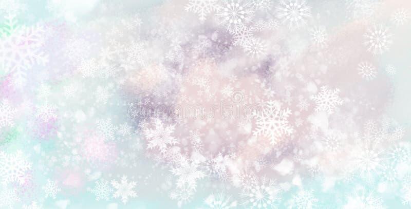 Los copos de nieve de la nieve de la Navidad en colores pastel tratan - el fondo del invierno con suavidad libre illustration