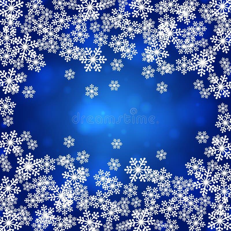 Los copos de nieve de la Navidad esconden el ejemplo del vector del marco ilustración del vector