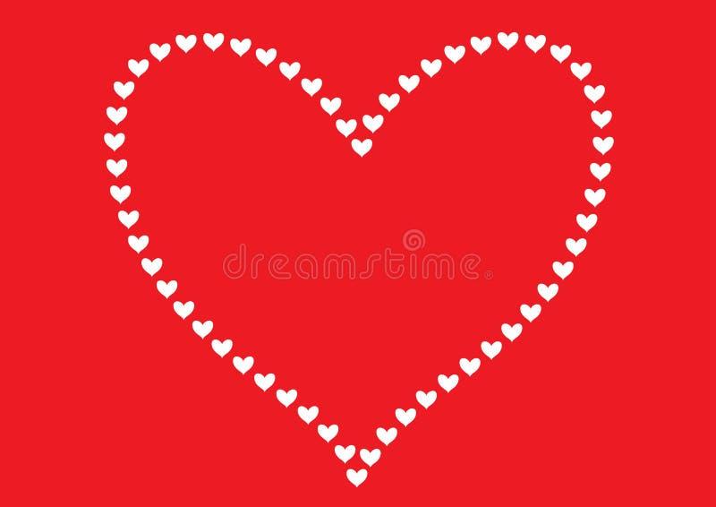 Los corazones blancos modelan la formación de la forma de un modelo alineado del corazón grande y aislada en un fondo rojo simple stock de ilustración