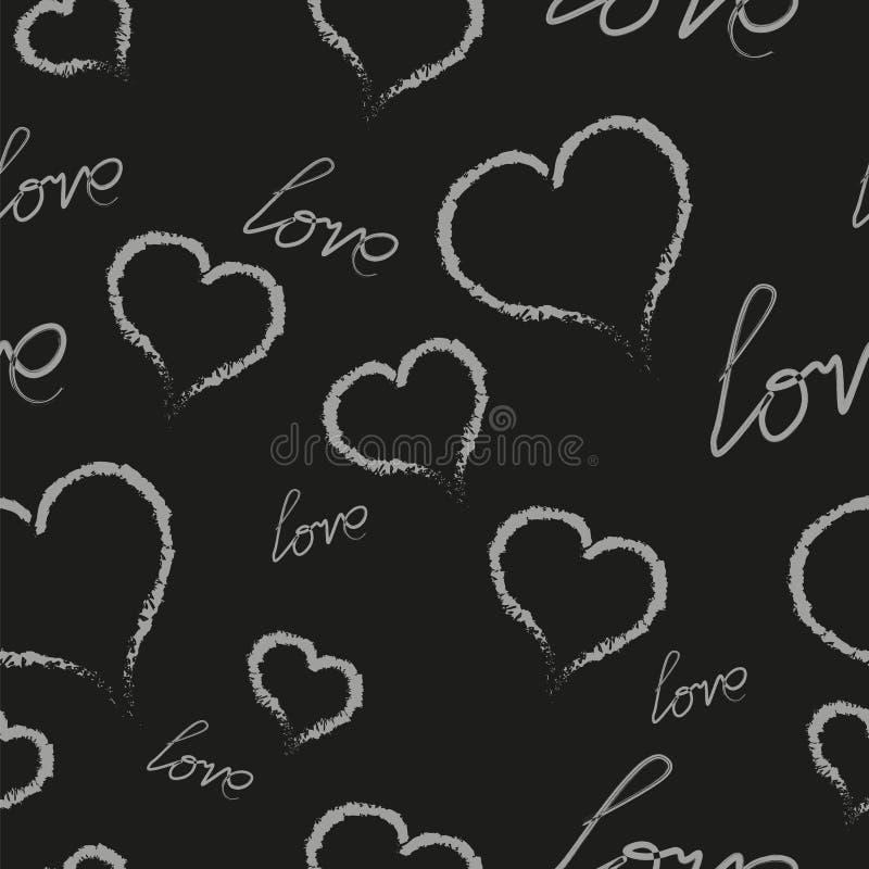 Los corazones blancos y una inscripción del amor en un fondo negro Ejemplo del vector del modelo imagen de archivo