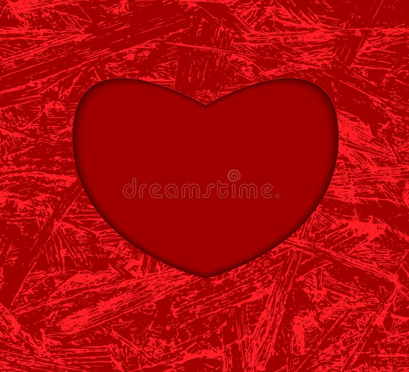 Los corazones capítulo en fondo del grunge Corazón verde estilizado de la ilustración del vector Fondo rojo hermoso con el marco- stock de ilustración
