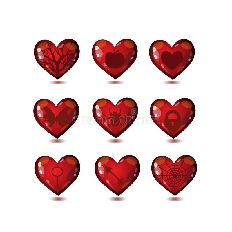Los corazones de cristal aman el sistema de los iconos stock de ilustración