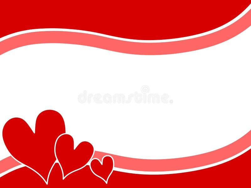 Los corazones de la tarjeta del día de San Valentín de Swoosh confinan el fondo 2 ilustración del vector