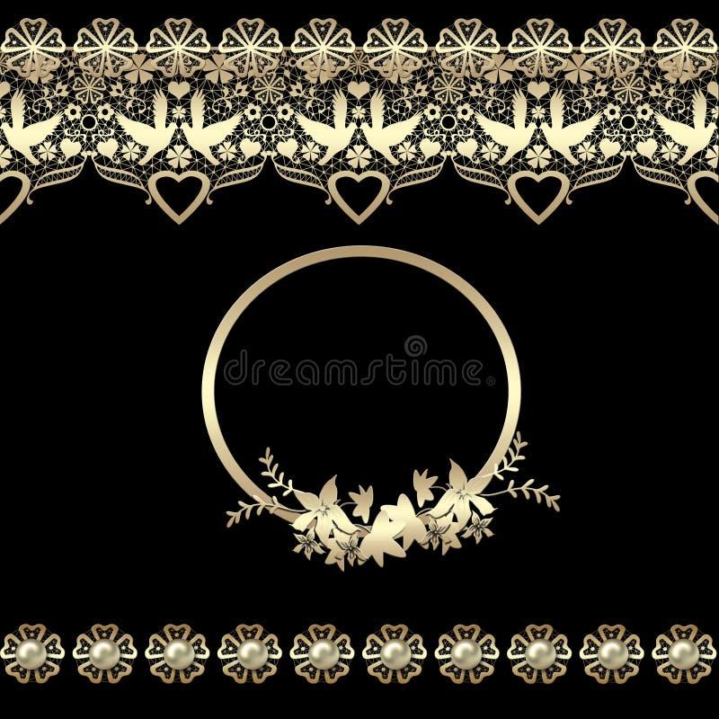 Los corazones de oro inconsútiles del cordón enmarcan negro de encaje del modelo del vintage retro stock de ilustración