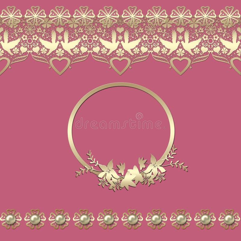Los corazones de oro inconsútiles del cordón enmarcan rosa de encaje del modelo del vintage retro libre illustration