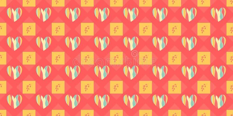 Los corazones del arco iris arreglaron en un fondo geométrico Ramitas entre los elementos Modelo incons?til libre illustration