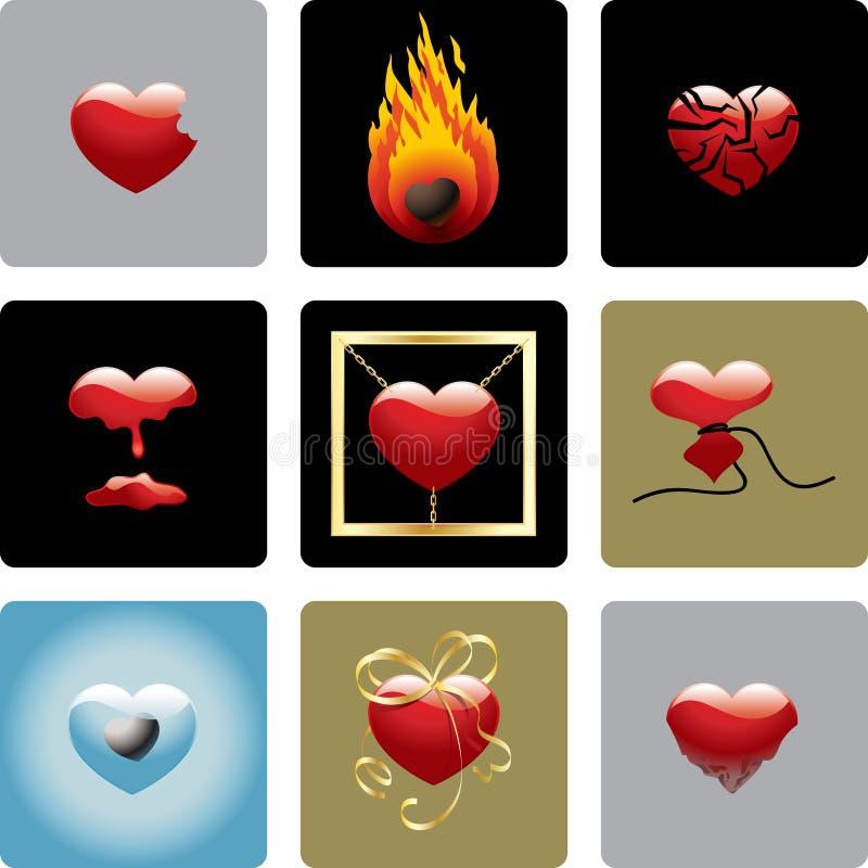 Los corazones del vector - fije uno ilustración del vector