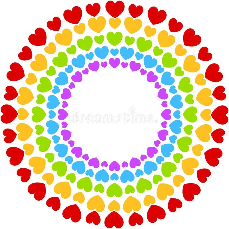 Los corazones enmarcan el arco iris colorido del partido
