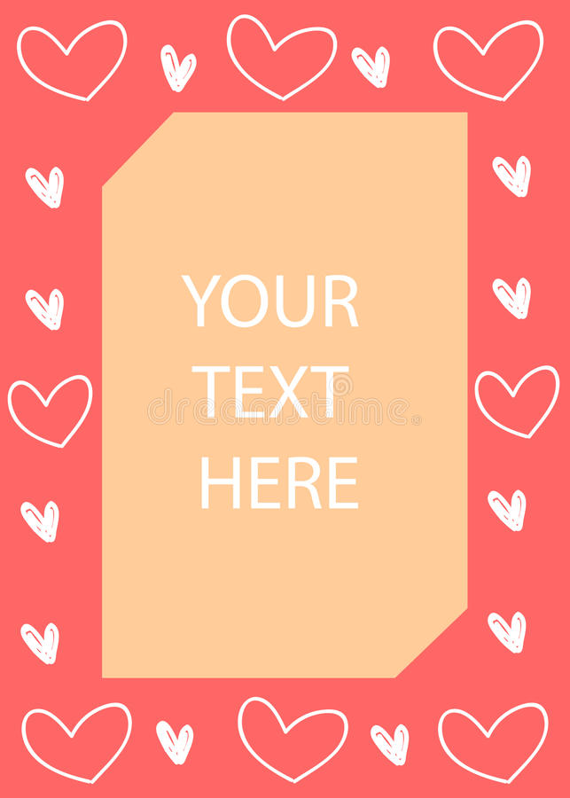 Los corazones enmarcan, tarjeta del día del ` s de la tarjeta del día de San Valentín Ilustración del vector foto de archivo libre de regalías