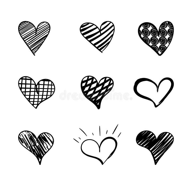 Los corazones exhaustos colección, elemento lindo de la mano del vector del diseño del garabato, los dibujos negros aislaron ilustración del vector