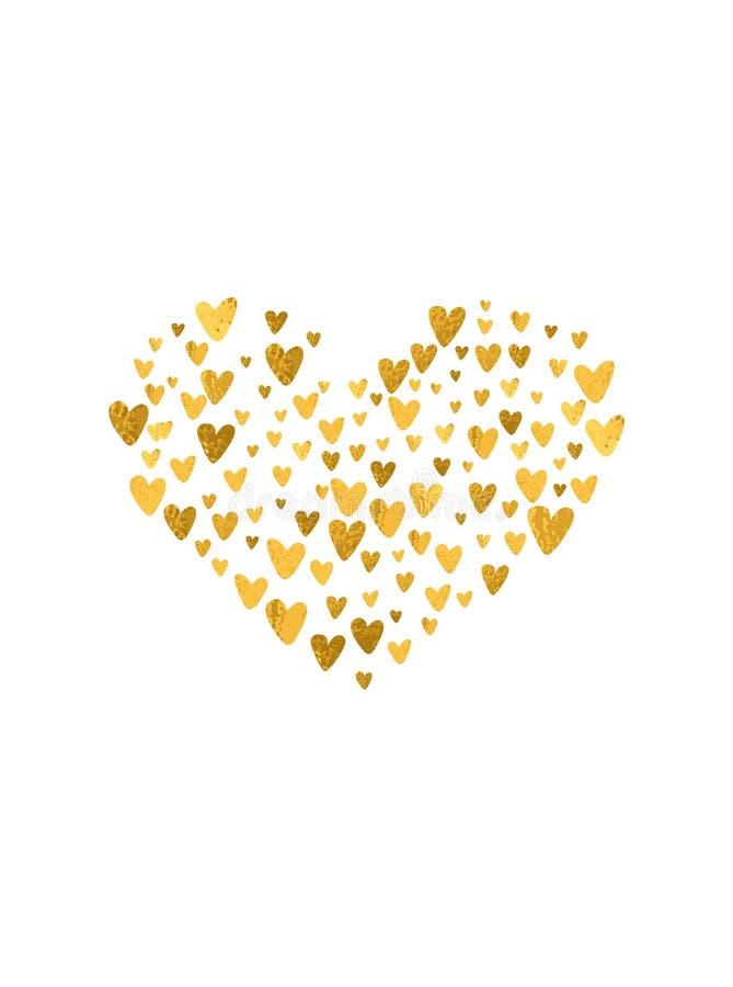 Los corazones exhaustos de la mano modelan forma Efecto de oro de la hoja, textura del brillo El día de tarjeta del día de San Va stock de ilustración