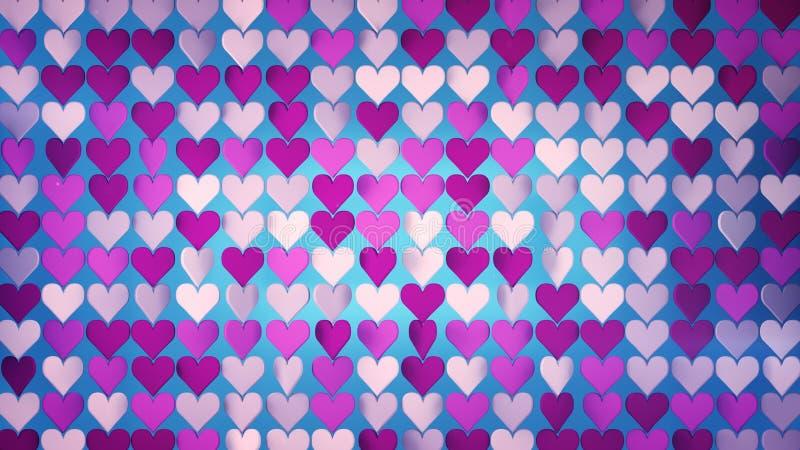 Los corazones ponen en orden 3D abstracto rinden el ejemplo libre illustration