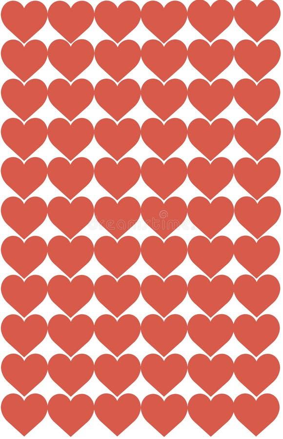 Los corazones rojos diseñan en el fondo blanco Amor, corazón, el día de tarjeta del día de San Valentín Puede ser utilizado para  ilustración del vector