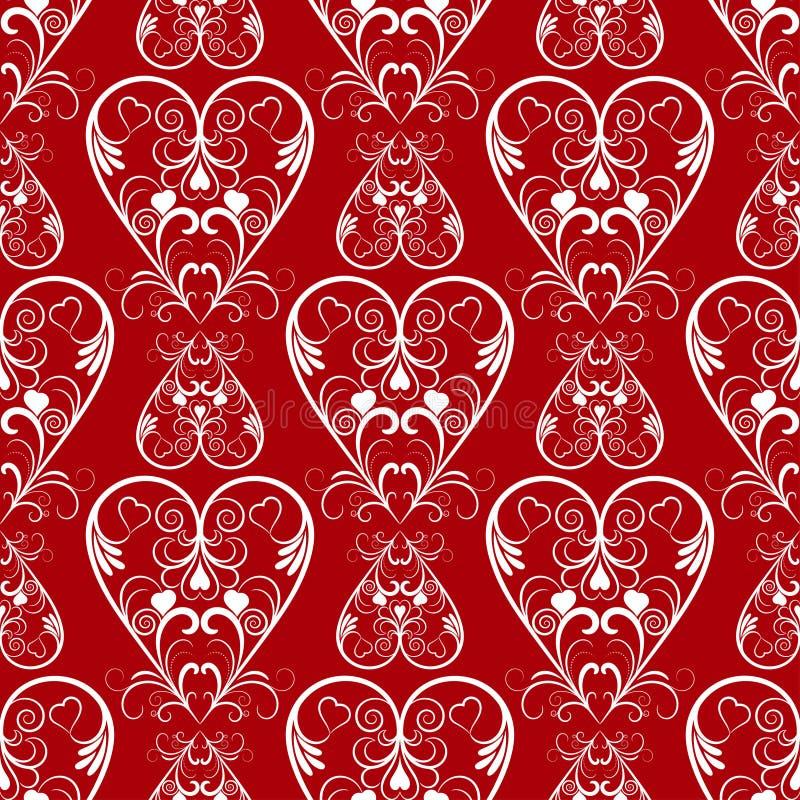 Los corazones rojos inconsútiles del vector del extracto modelan para el fondo stock de ilustración