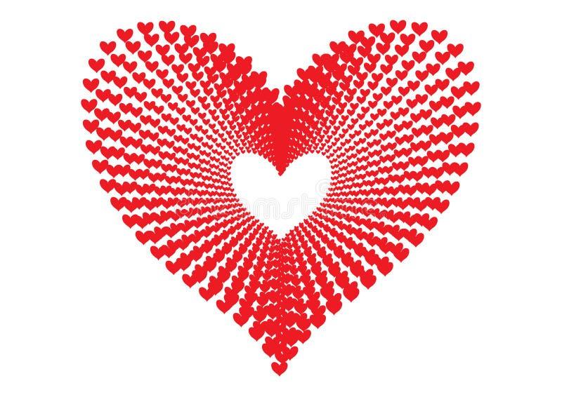 Los corazones rojos modelan la formación de la forma de un corazón grande en perspectiva concéntrica del modelo de la alineación  ilustración del vector
