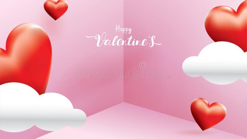 Los corazones románticos rojos de la tarjeta del día de San Valentín 3D forman el vuelo y la nube linda flotante en fondo rosado  libre illustration