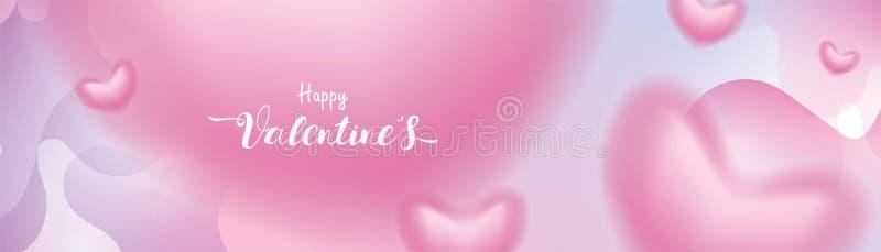 Los corazones románticos rosados del día de San Valentín 3D forman el vuelo borroso y la flotación en fondo líquido en colores pa ilustración del vector