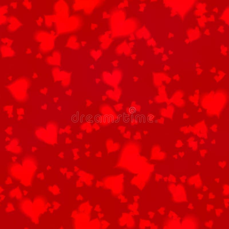 Los corazones shinning inconsútiles del fondo de Bokeh en diversos tamaños dispersaron irregular en fondo rojo oscuro stock de ilustración