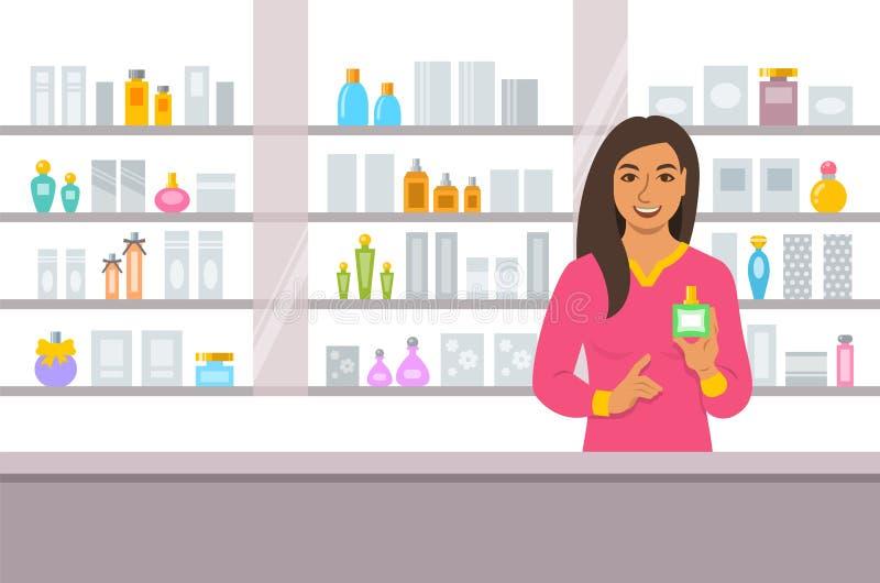 Los cosméticos almacenan el contador indio de la muchacha cerca de estantes stock de ilustración