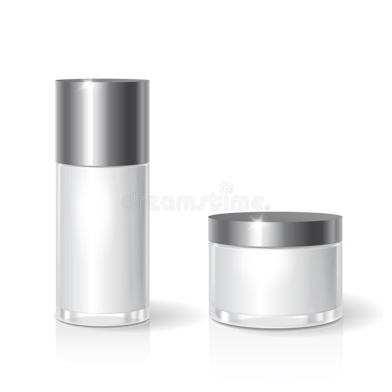 Los cosméticos de cristal en blanco blancos sacuden con la tapa negra para la crema, mantequilla, cuidado de piel Plantilla de em stock de ilustración