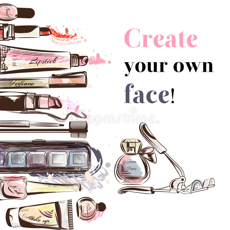 Los cosméticos de la acuarela de la belleza y del vector de la moda componen a artistas ilustración del vector