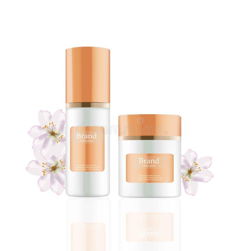 Los cosméticos de la crema y de la loción instalaron mofa realista del vector Botella anaranjada de la crema de la hidración del  libre illustration