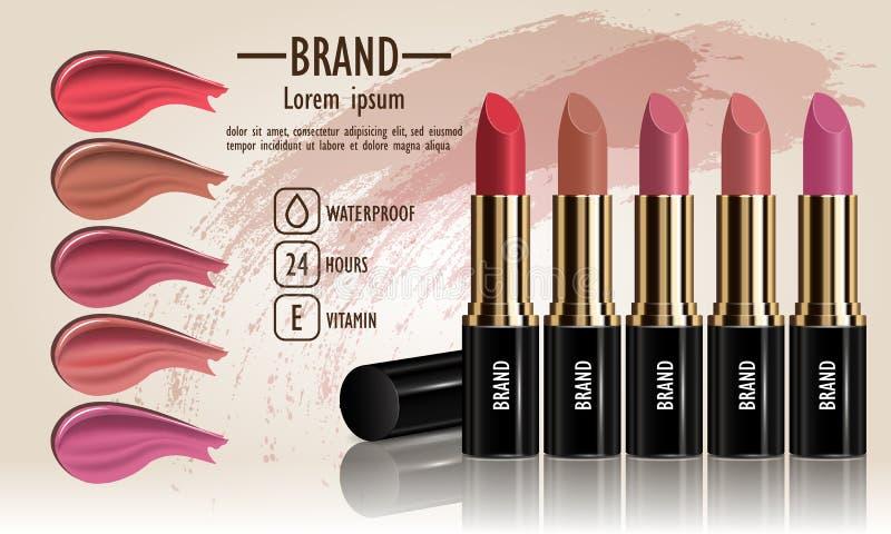 Los cosméticos fijan de la crema femenina del lápiz labial y el líquido mancha diverso diverso de los colores para el maquillaje, stock de ilustración