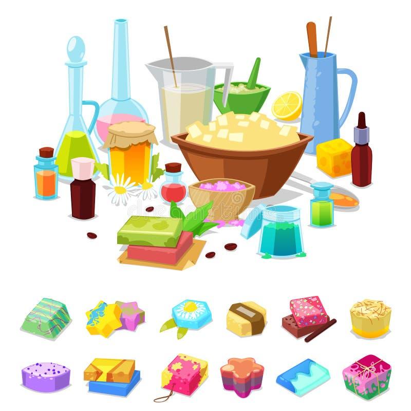 Los cosméticos hechos en casa del aroma de la higiene del vector hecho a mano del jabón para el aromatherapy y la mano sanos limp libre illustration