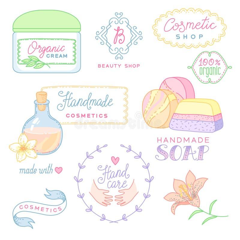 Los cosméticos hechos a mano aislaron stock de ilustración