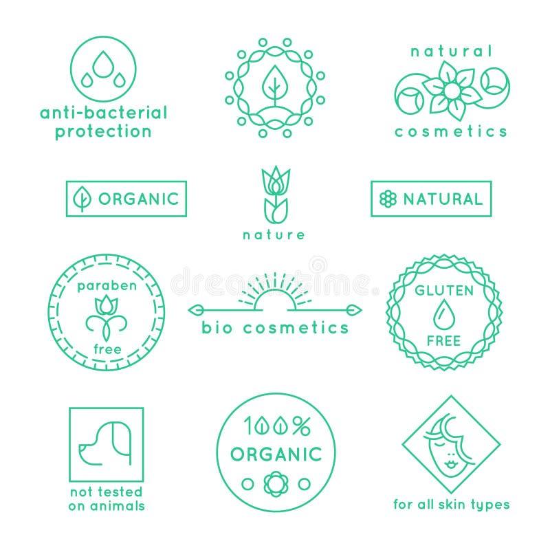 Los cosméticos naturales alinean los iconos y las insignias del vector fijados ilustración del vector